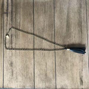 Black long tassel necklace